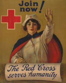 "Vintage World War Poster ""The Red Cross serves humanity Join now""."